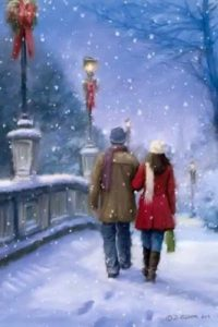 Мужчина и женщина идут по снегу