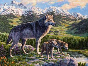 Волчица и волчата
