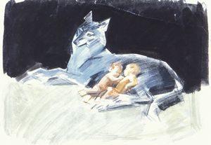 Волчица кормит молоком младенцев