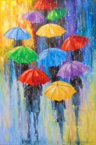 Зонты под дождем